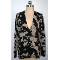 Wholesale Ladies Long Sleeve Floral Print Sweater / Deep V Neck Sweater Womens from china suppliers
