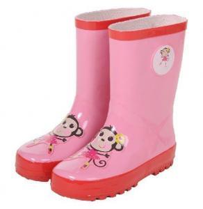 China monkey print pink rubber rain boots on sale