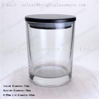 Wholesale Scented Soy Wax Candle Jar with black wooden lid from china suppliers