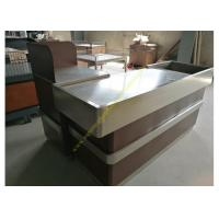 Quality OEM Supermarket Checkout Counter / Stainless Steel Cash Register Table for sale