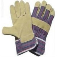 Wholesale Leather Working Gloves customized with purple - yellow Striped Cotton Back for men from china suppliers