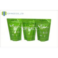 Wholesale Green Printed Foil Stand Up Zip Pouch , Aluminum Foil Zip Lock Bag 50micron - 200micron from china suppliers
