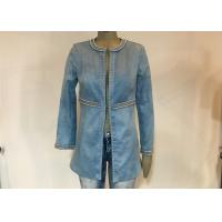 China Casual Style Ladies Suede Jackets , Studs Decorated Ladies Pu Leather Jackets for sale