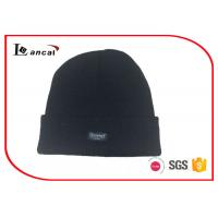 Wholesale All Black Sports Knit Hats Customize Woven Lable And Polar Fleece Lining from china suppliers