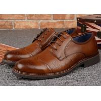 Trendy Classic Dress Shoes Dark Tan Brogues With Embossed Crocodile Pattern