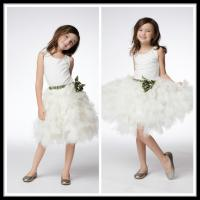 China Vintage White Unique Flower Girl Dresses Floor Length Kids Ball Gowns on sale