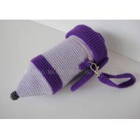 Wholesale Pencil Shape Crochet Mug Holder Purple Knitted Cup Sleeve With Zipper from china suppliers