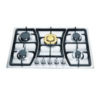 Wholesale SS Panel 5 Burner Gas Hob Cast Iron Pan Supports / Copper Burner Cap from china suppliers