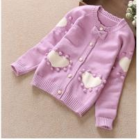 China 2016 Spring girl's cardigan wool sweater embroidery sweater with batterfly accessories on sale