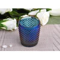 Wholesale Machine Made navy blue glass cylinder candle holder Embossed Cross Line from china suppliers