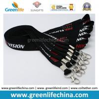 Wholesale China Custom Silk Nylon Unique Logo lanyard Black Color 20mm Width w/Thumb Hook from china suppliers