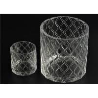 Wax Cylinder Frosted Glass Candle Holders For Wedding , Glass Candle Cups