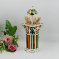 Wholesale Shinny Gifts Automatic Dispenser Metal Columnar Toothpick Holder from china suppliers