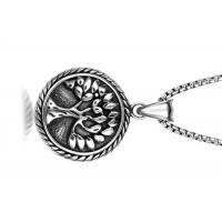 Wholesale Vintage Stainless Steel Pendant Necklace , Peaceful Tree Pattern Round Pendant Necklace from china suppliers