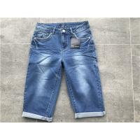 China Medium Wash Pull On Denim Jeans , Womens Bermuda Jeans With Soft Gold Trims TW81108 for sale