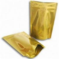 Wholesale Gold Glossy Plastic Pouches Packaging With Zipper / Gold Printing Packaging Bag from china suppliers