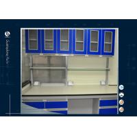 Wholesale Two Layers L Shape Science Lab Steel Tables , Chemical Resistant Steel Wall Cabinet from china suppliers
