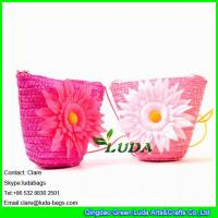 Wholesale LDMC-016 pink girls beach bag ,flower handbag ,wheat straw shoulder bag from china suppliers