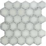 Carrara white mosaic tile 12x12 Hexagon white+grey dot