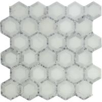 "Quality Carrara white mosaic tile 12x12"" Hexagon white+grey dot for sale"