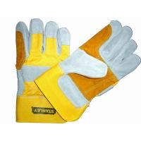Wholesale XL Yellow cotton back with half lining cow split Leather Work Glove for man 605CBYYR from china suppliers