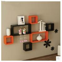 Quality 3pcs/lot Rectangle tv wall shelf shelves bookcase home decor hanging wooden plaque for sale