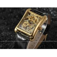 Quality Winner mechanical Mens Wrist Watches leather band gold color Stainless steel for sale