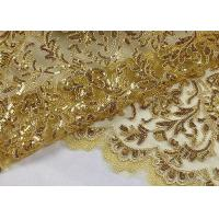 Stretch Golden Lurex Sequin Lace Fabric , Nylon Mesh Fabric With Sequin Golden Thread
