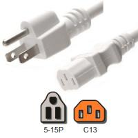 Wholesale White Computer Power Cord 10 Amp American NEMA 5 15P to IEC C13 18 / 3 AWG from china suppliers