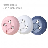Wholesale 3 In 1 Usb Cable 1M 2.1A Retractable from china suppliers