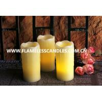 Wholesale Ivory Wax Unscented Amber LED Flickering Flameless Candles with Melted Edge from china suppliers