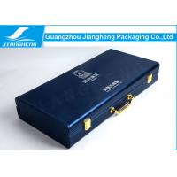 Wholesale Durable Dark Blue PU Leather Packaging Box With Luxury Silvery Logo Stamping from china suppliers