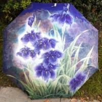 Wholesale New folding Anti uv Orchid Oil Painting Windproof lady women Rain Umbrella from china suppliers