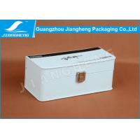 Wholesale White Small Silk Printing Pen Gift Box Packaging With Lock PU Leather + MDF Wooden from china suppliers