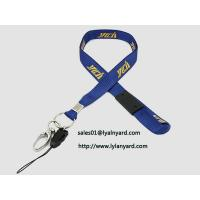 Quality Silk Screen Yellow Print Removable Safety Clasp Blue Neck Lanyard with Metal Split Ring for sale
