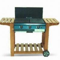Wholesale Wooden Trolley Gas Barbecue Grill with Cast Iron Hot Plate Cooking Grid and Burner from china suppliers