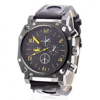 Buy cheap Analog Display Mens Quartz Watches Leather Strap Business Wristwatch from wholesalers