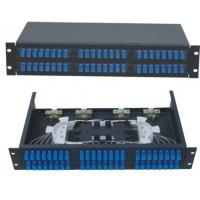 Quality 48 ports Rack-Mount  19'' 2U Fiber Optic Patch Panel for SC/UPC adapter terminal box black cold-roll steel sheet for sale
