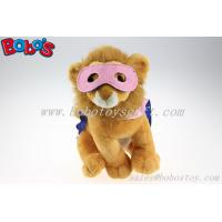 Wholesale Plush Lion Toys Custom Stuffed Lion With 2 Color Eye patch and Printing Logo Cloak from china suppliers