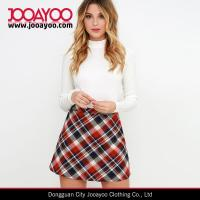 Wholesale High Waisted Sweet and Tartan Red Plaid A-line Mini Skirt from china suppliers