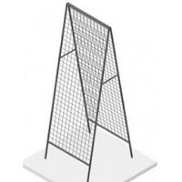 A black tent-shaped stand grid panels
