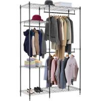 China Folding Commercial Wire Shelving , Coat And Clothes Hanger Storage Rack Customized on sale