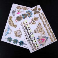 Wholesale Beautiful Gold And Silver Temporary Hair Tattoos Stickers Flower Patterns from china suppliers