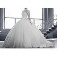 China High Collar Long Sleeve Winter Wedding Dresses / Zipper Big Beaded Ball Gown for sale