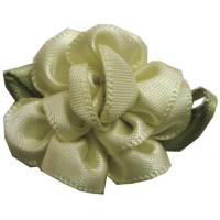 Wholesale Bloom With Bud For Baby Hair Accessories , Satin Ribbon Flowers With Leaf from china suppliers