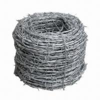 Wholesale Hot Dipped Galvanized Barbed Wire with Plain/Twisted for Road Steel Fencing, w/ 3 to 6-inch Distance from china suppliers