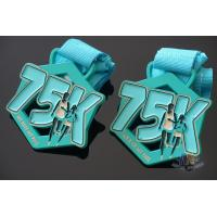 Wholesale Race 75K Marathon Custom Metal Sports Medals Spray Pontan Colors  With Printing Ribbon from china suppliers