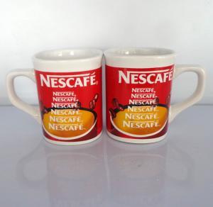 Wholesale wholesale Export NESCAFE ceramic mug custom  LOGO 9OZ red colors coffee mug from china suppliers
