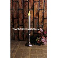 Wholesale Smokeless Flameless Ivory Dripping Taper LED Candles with Pewter Finish Candlesticks from china suppliers
