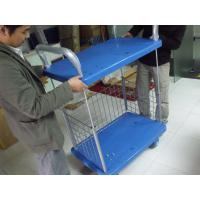 Wholesale Two Layers Folding Storage Cart Warehouse Trolley Cart On Wheel For Goods Storing from china suppliers
